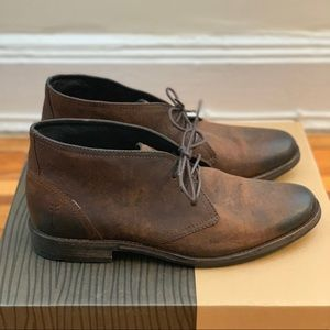 Mahogany leather Frye Chukka boots.